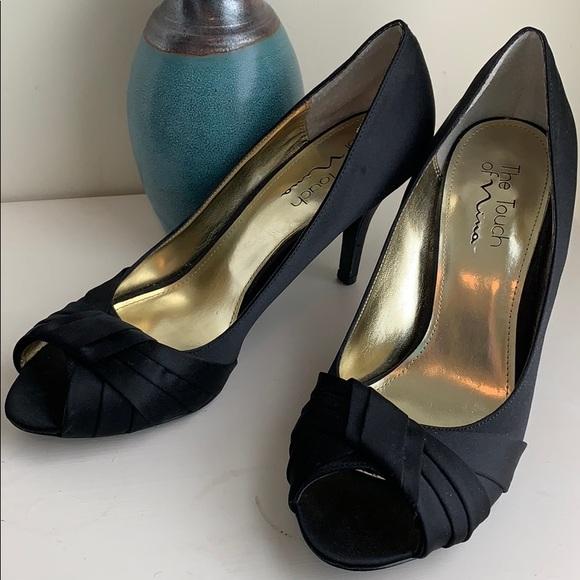 6da5b40d8b6 NWOT Nina Black Satin Peep Toe Heels